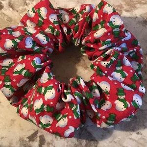 Red green snowman snowman Christmas scrunchie vsco